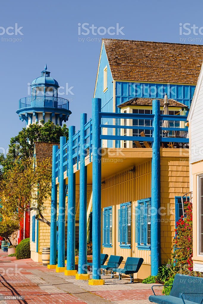 Fisherman's Village colorful buildings in Marina Del Rey, CA (P) stock photo