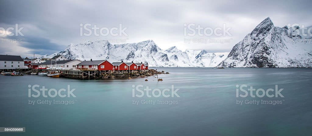 Fisherman's village, Lofoten island stock photo