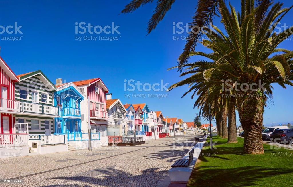 Fisherman's village. Portugal, Costa Nova stock photo