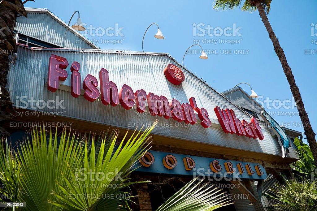Fisherman's Wharf restaurant Historical District pier 22 in Galveston Texas stock photo