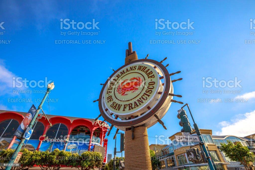 Fisherman's Wharf signboard stock photo