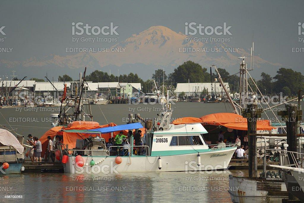 Fisherman's Wharf, Steveston and Mount Baker stock photo