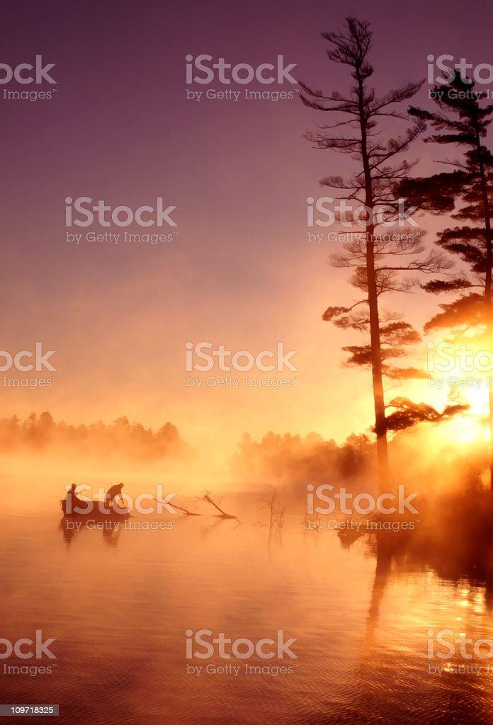 Fishermen and Sunrise royalty-free stock photo