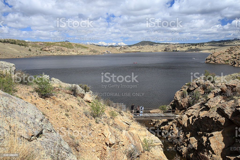 Fishermen at Tarryall Reservoir in Park County, Colorado stock photo