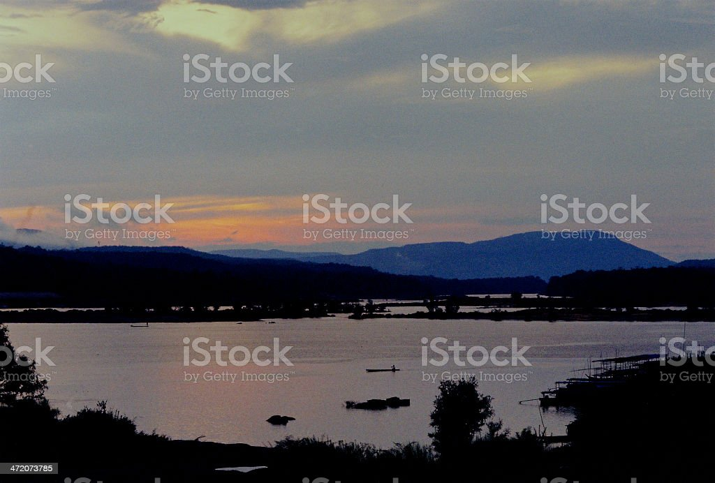 Fishermen at Work in Early Morning stock photo