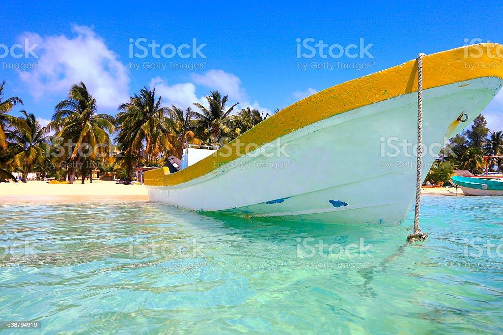 Fishermen boat, Cancun - caribbean tropical beach paradise stock photo