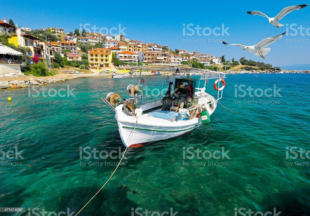 Fishermen boat in Chalkidiki stock photo