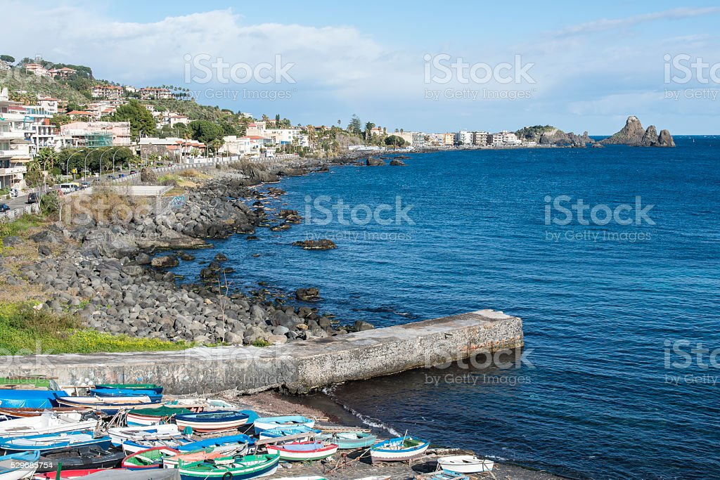 Fishermen boats at Aci Castello. Sicily. Italy. stock photo