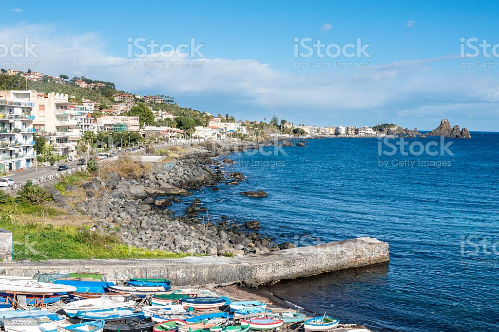 Fishermen boats at Aci Castello. Sicily. Italy. stock photo