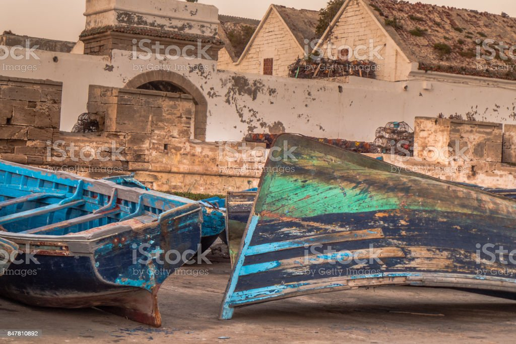 Fishermen boats in the harbor after a long day in the sea. stock photo