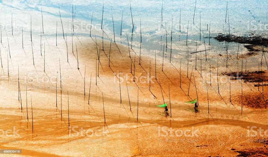 Fishermen carrying fish nets on artistic Mudflats beach in Xiapu, Fujian Province, China. stock photo