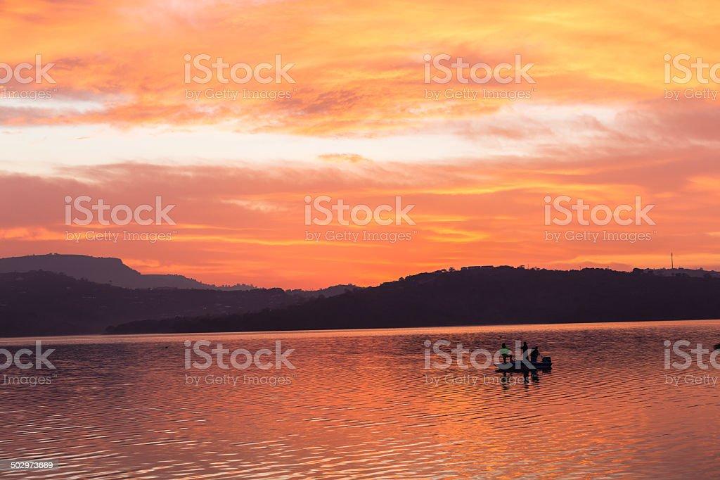 Fishermen Colors Boat Dam stock photo