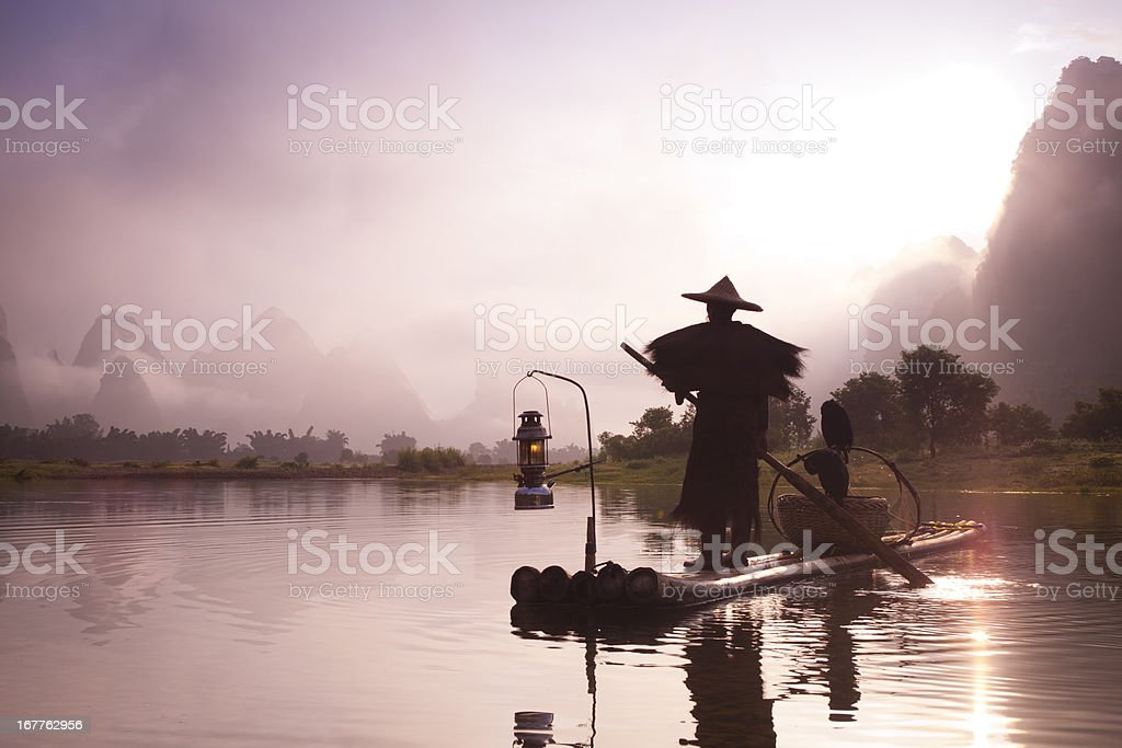 Fishermen  fashing on Li River royalty-free stock photo