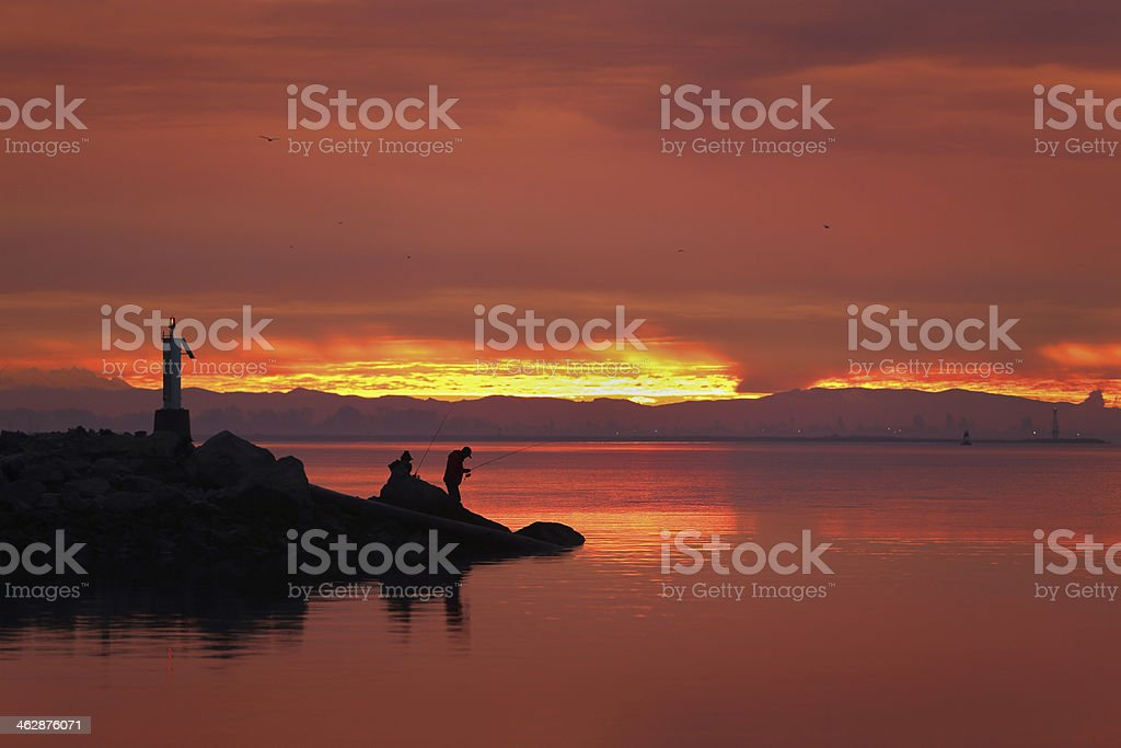 Fishermen, Garry Point, Steveston, BC stock photo