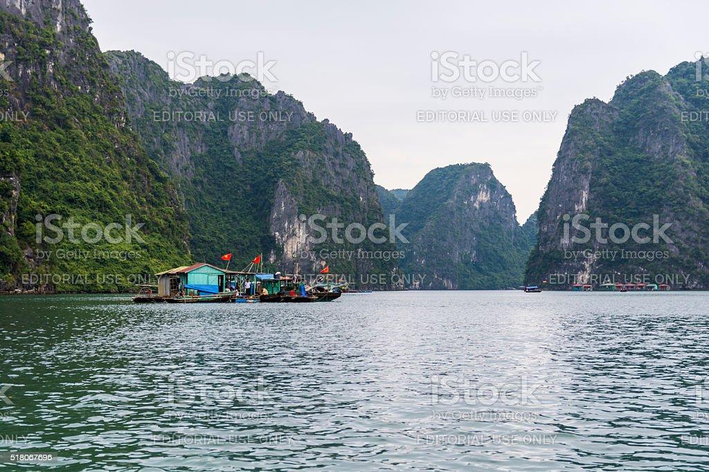 Fishermen Halong Bay stock photo