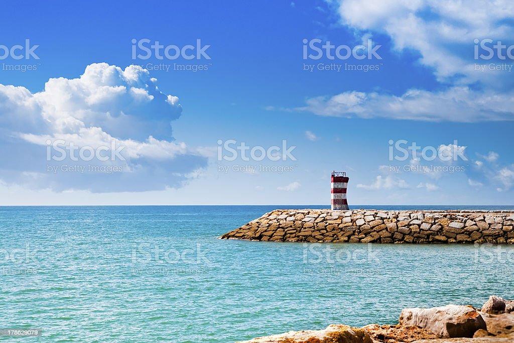 Fishermen harbor of Quarteira, Portugal stock photo