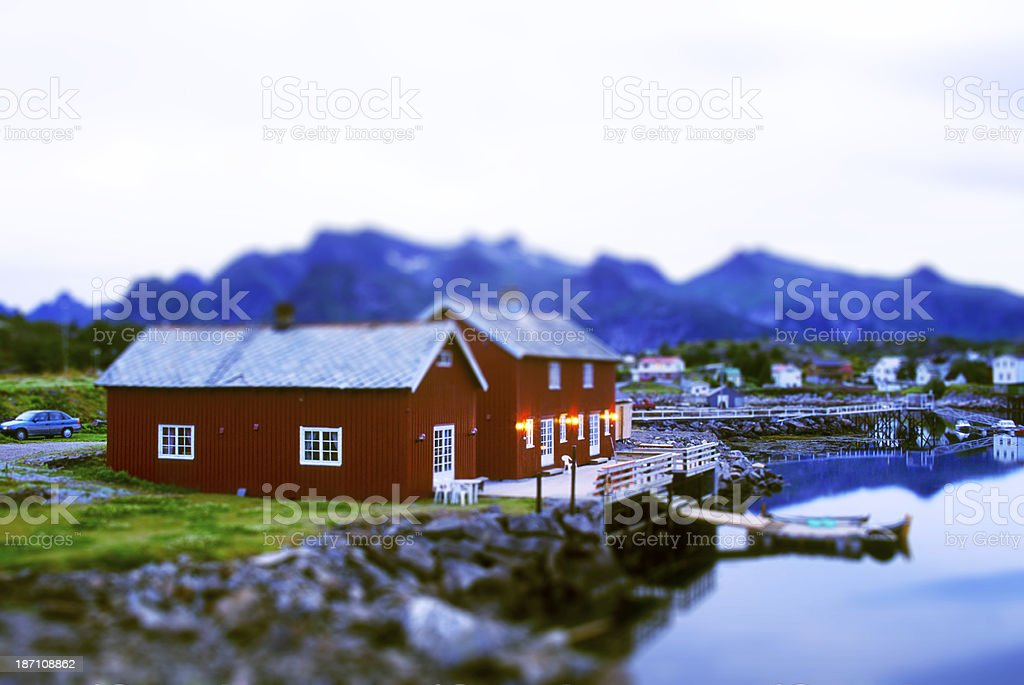 Fishermen Houses in Lofoten Islands royalty-free stock photo