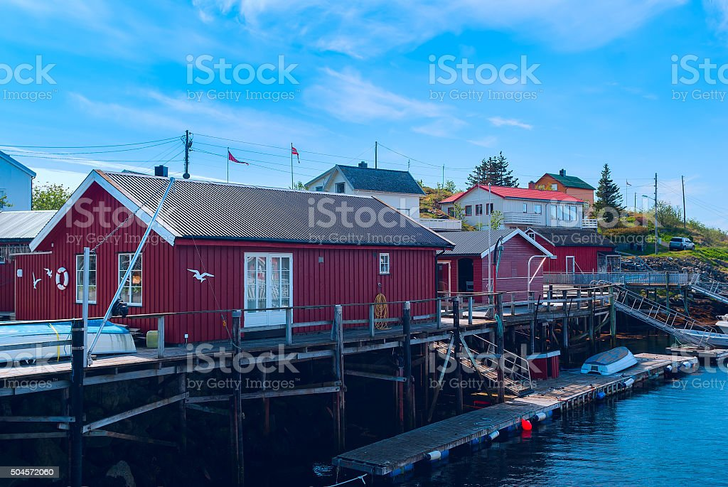 Fishermen houses on the banks of the Norwegian island stock photo