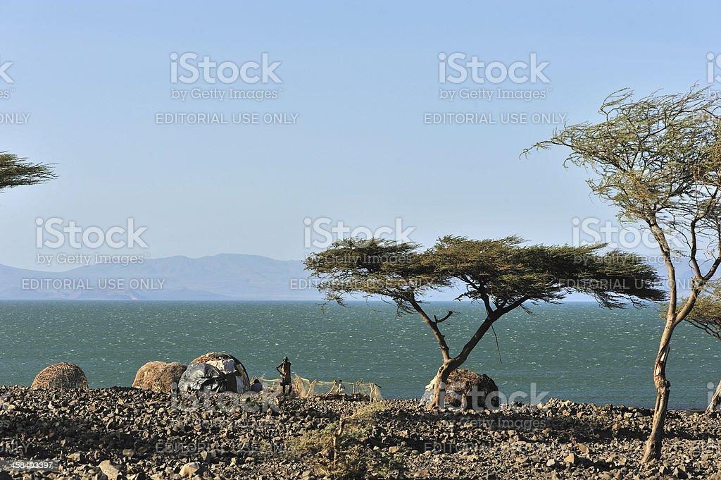 Fishermen huts, Africa royalty-free stock photo