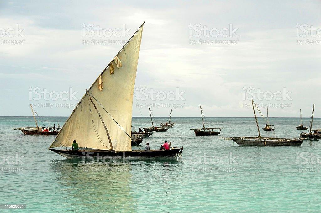 Fishermen in a traditional dhow,Nungwi,Zanzibar. royalty-free stock photo