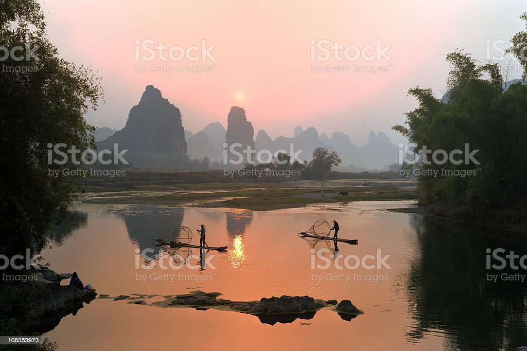 Fishermen in China stock photo