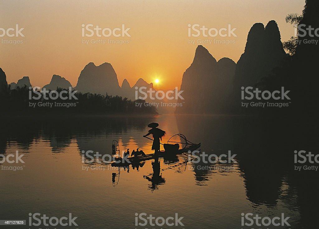 Fishermen in Li River stock photo