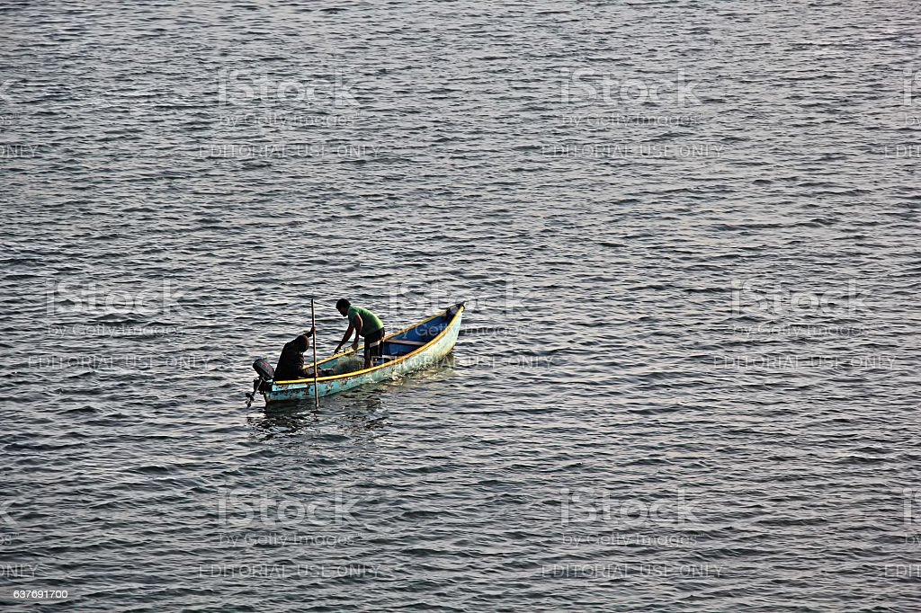 Fishermen in Mondovi River stock photo
