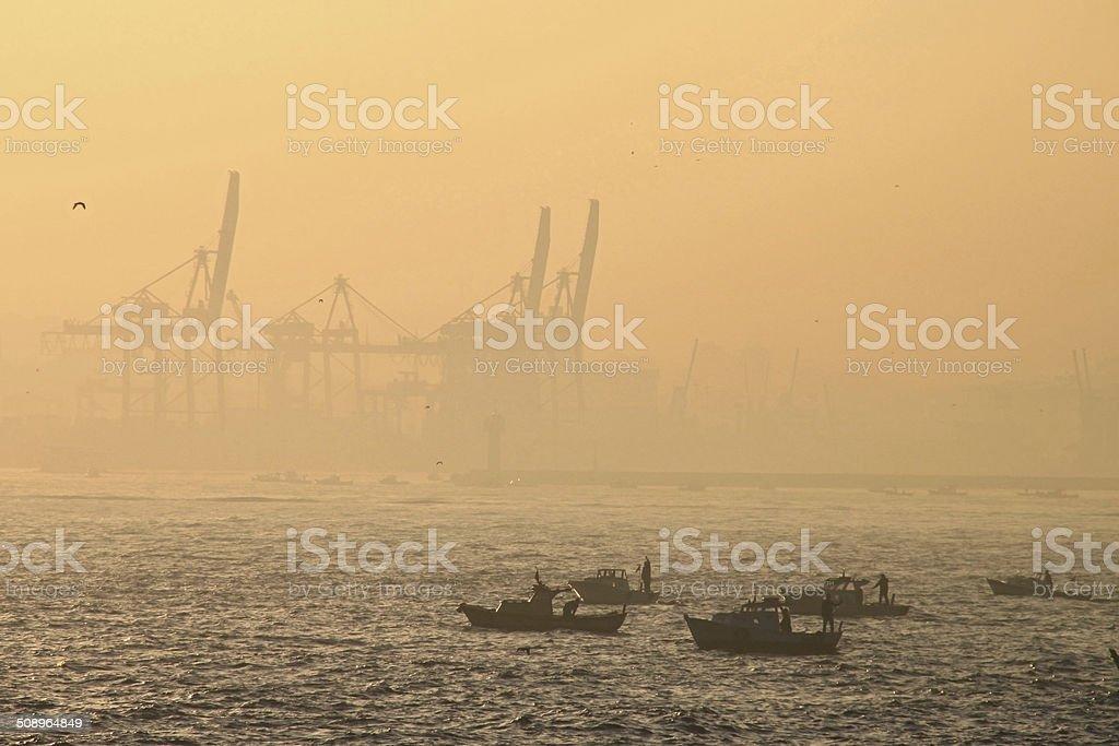 Fishermen of Istanbul stock photo
