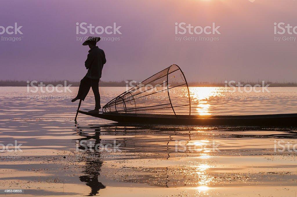 Fishermen on Inle Lake royalty-free stock photo