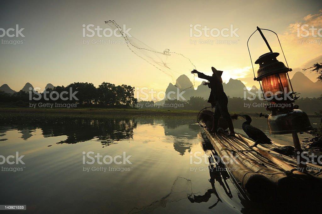 Fishermen on Li River stock photo