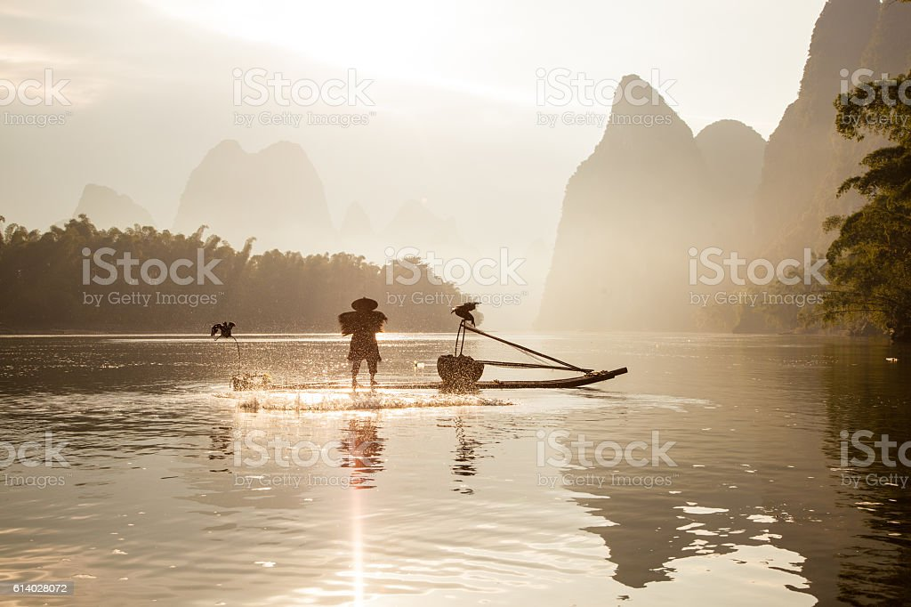 Fishermen on the Li River stock photo