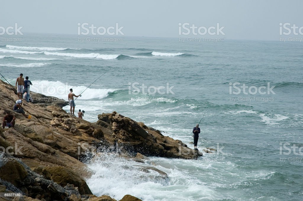 Fishermen on the seaside royalty-free stock photo