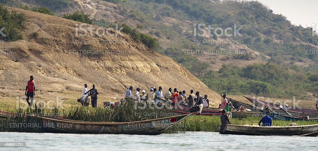 Fishermen set out for night fishing on the Kazinga Channel royalty-free stock photo
