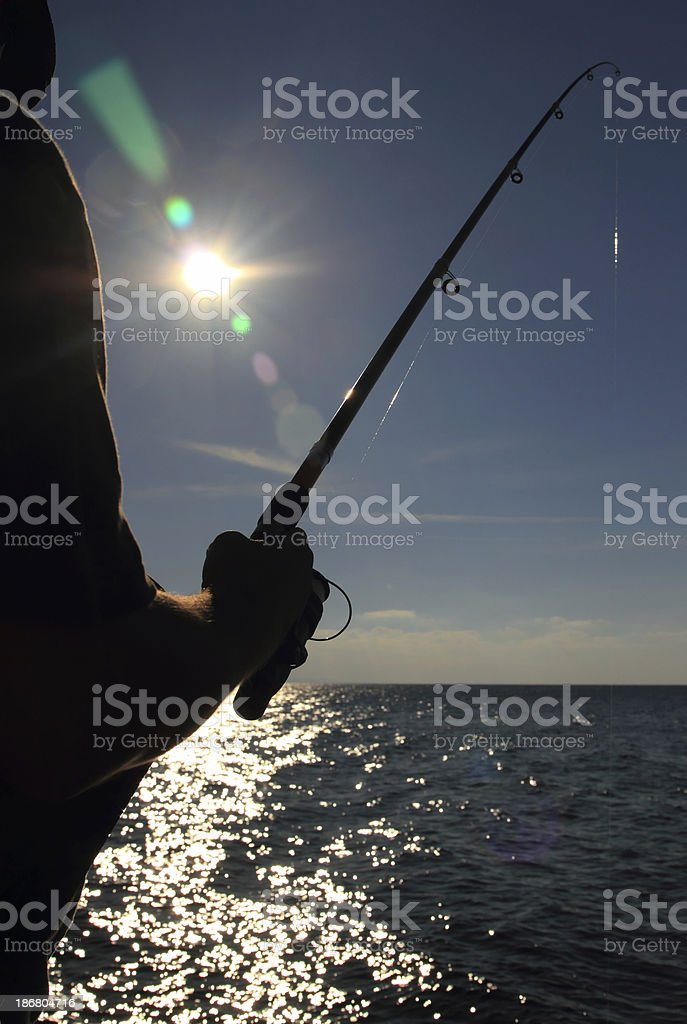 Fishermen Silhouette royalty-free stock photo