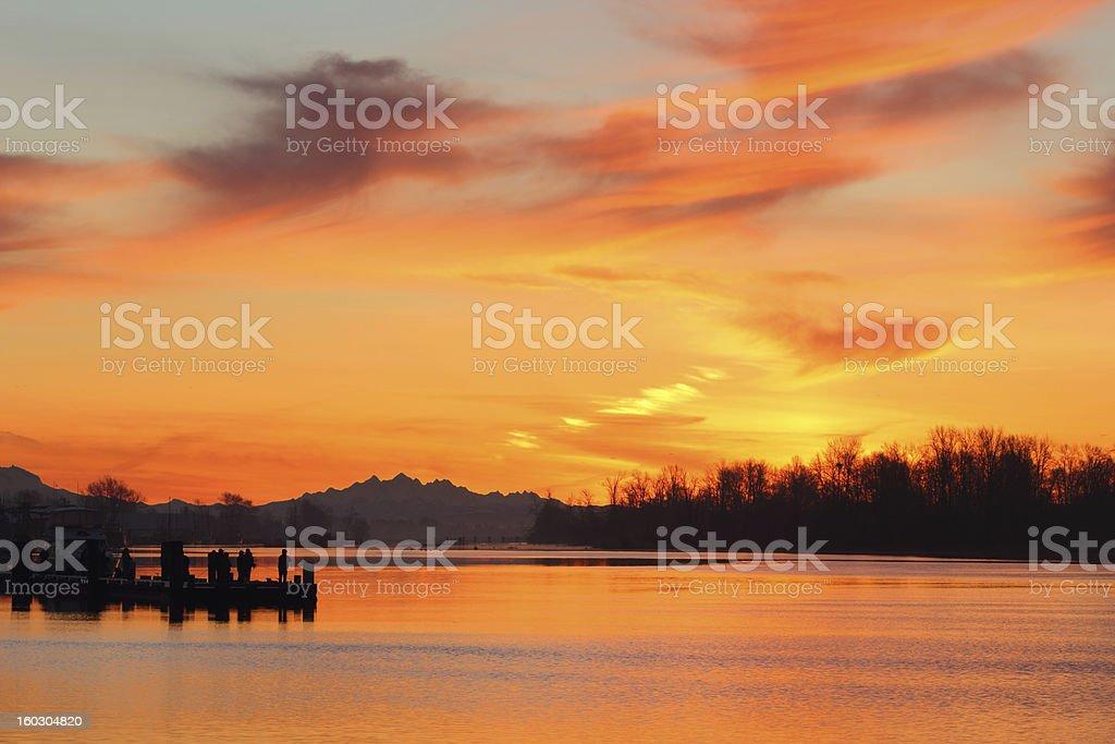 Fishermen, Steveston Harbor Sunrise stock photo