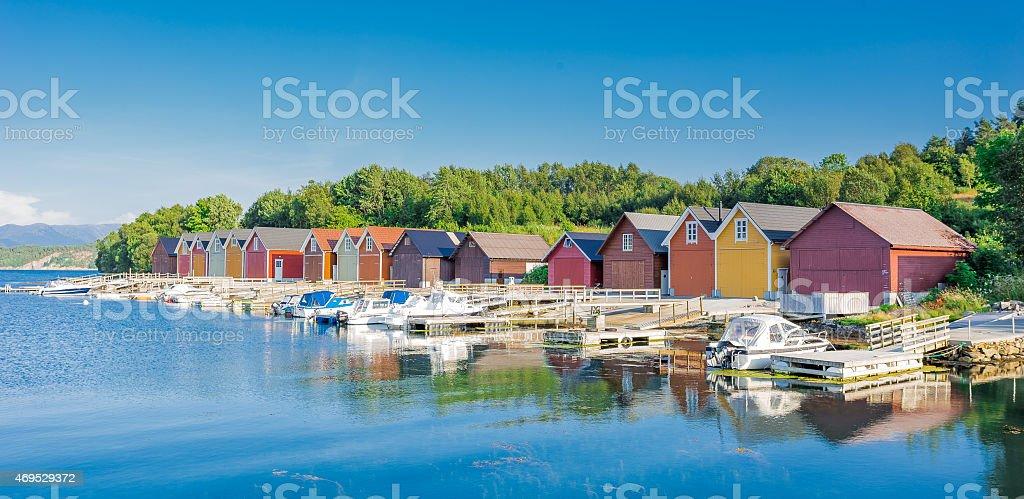 Fishermen's Barns in Ålesund, Norway stock photo