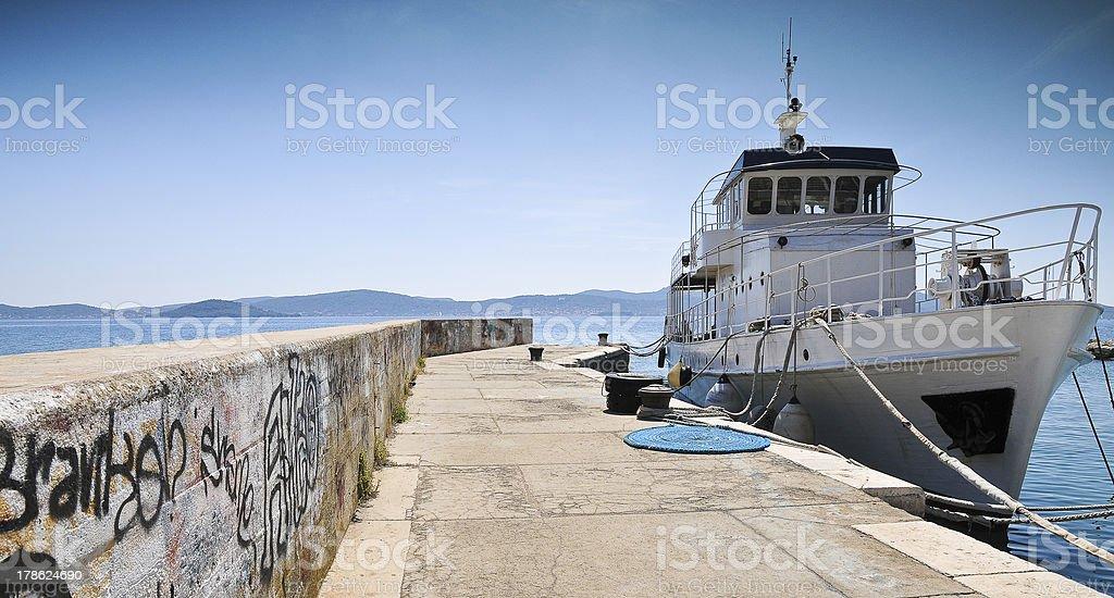 Fishermens boat in Fosa harbour Zadar Croatia stock photo
