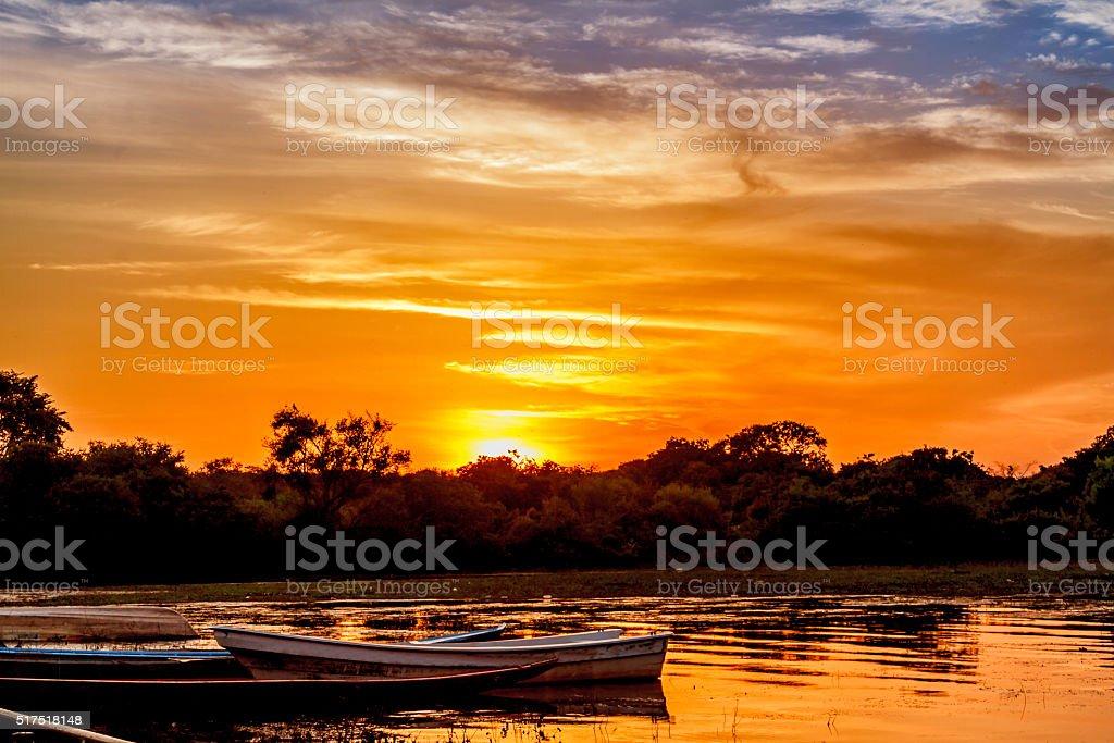Fishermen's boats at Orinoco River, Caicara, Venezuela stock photo
