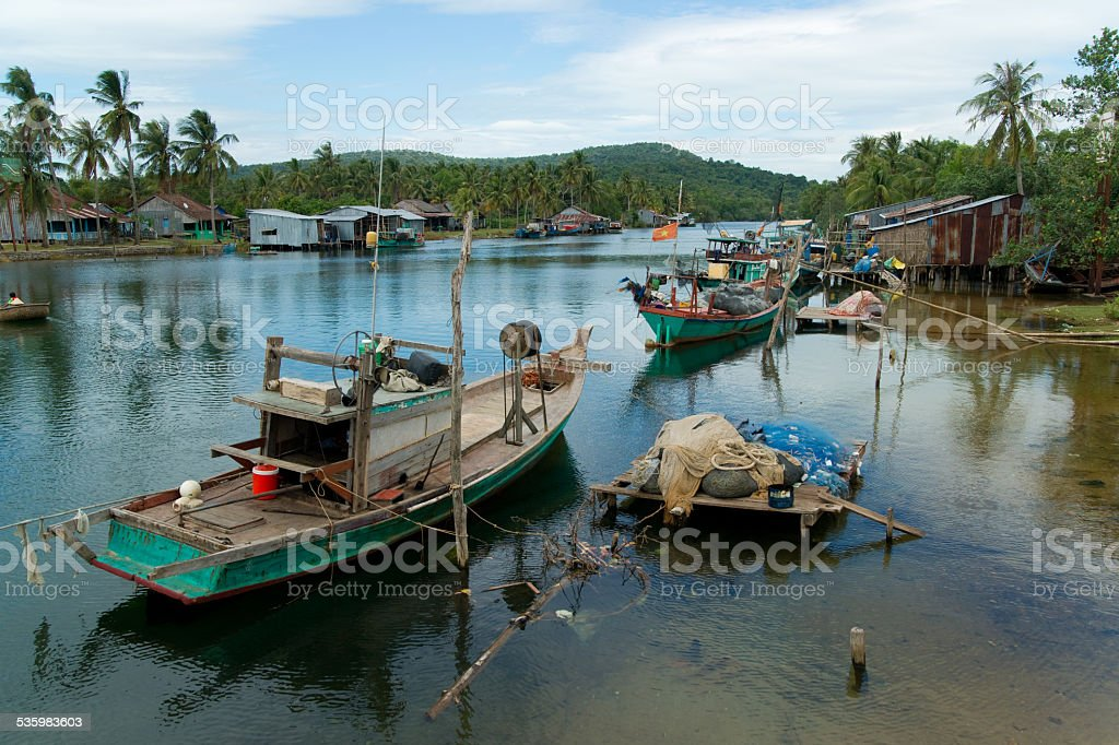 Fishermen's boats on a river, Phu Quoc island stock photo