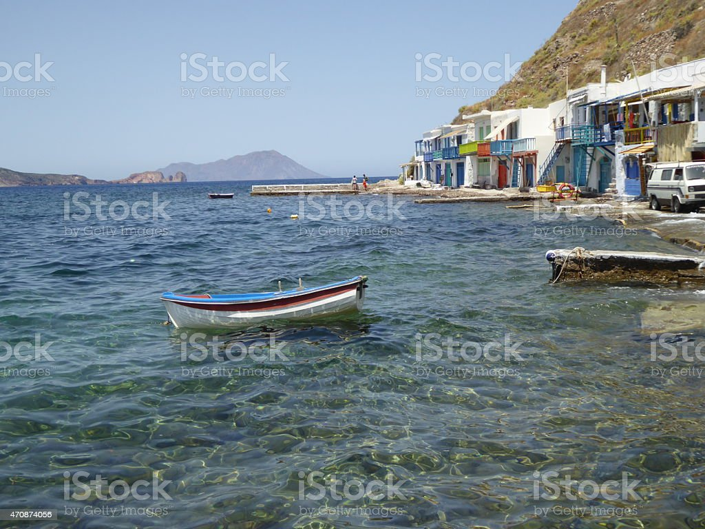 Fishermen's houses in Klima on the Cycladic Island Milos, Greece stock photo