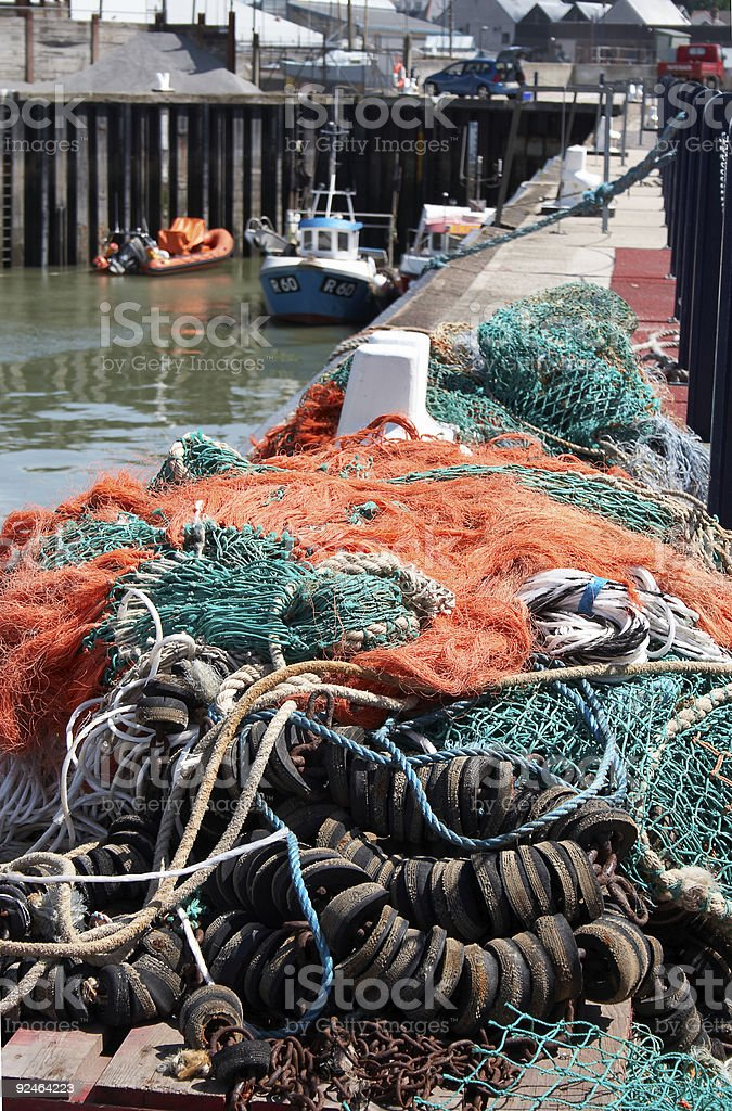 Fishermen's nets and tackle stock photo