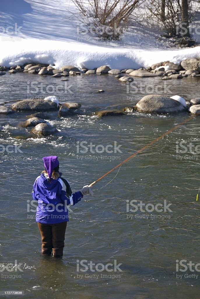 Fisherwoman in the Winter royalty-free stock photo