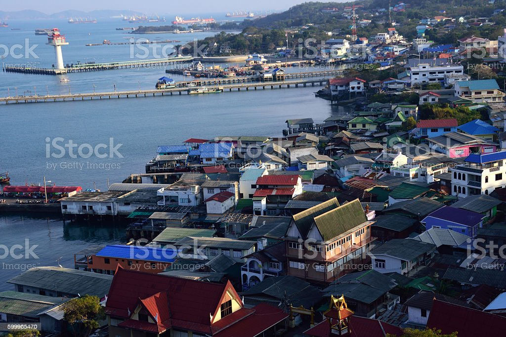 fishery village in Thailand stock photo