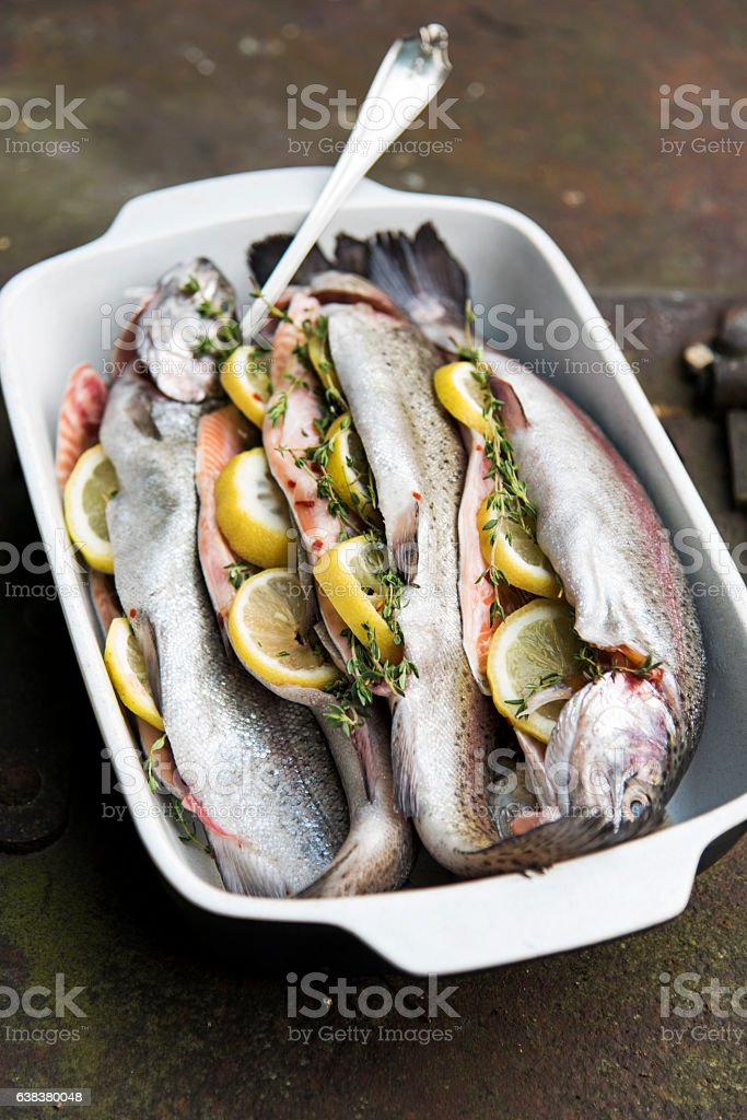 Fishes Ready to BBQ stock photo