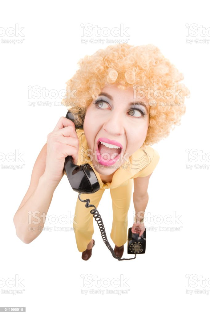 Fisheye 70's Woman Talking On Phone stock photo