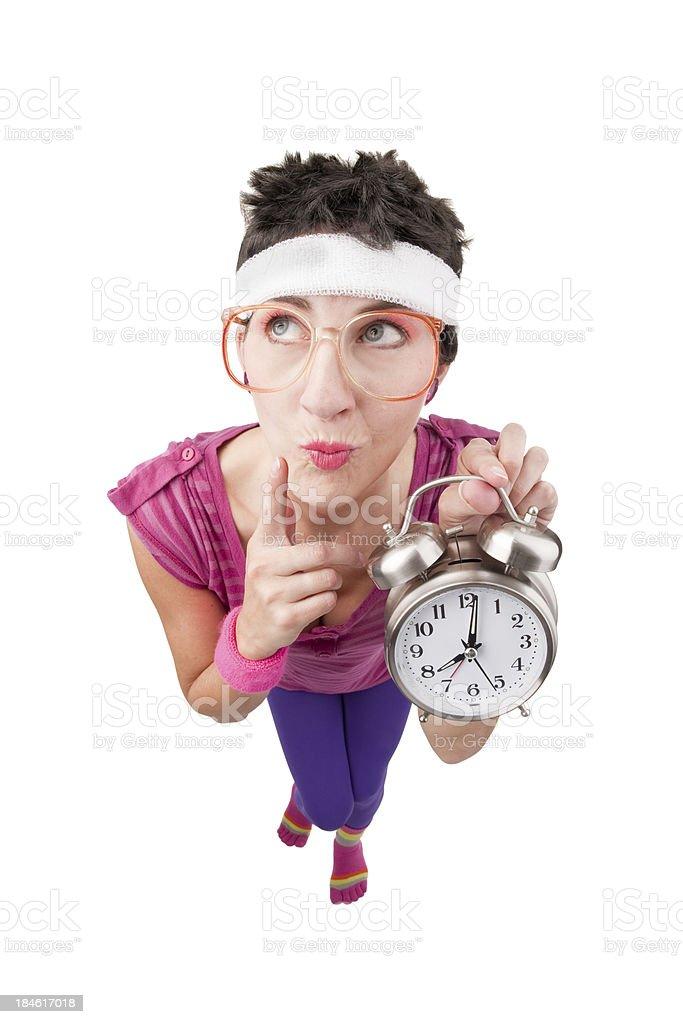 Fisheye 80's Woman Holding Clock royalty-free stock photo