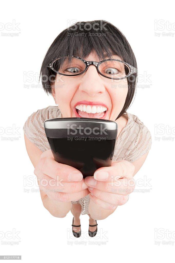 Fisheye Annoying Woman Texting stock photo