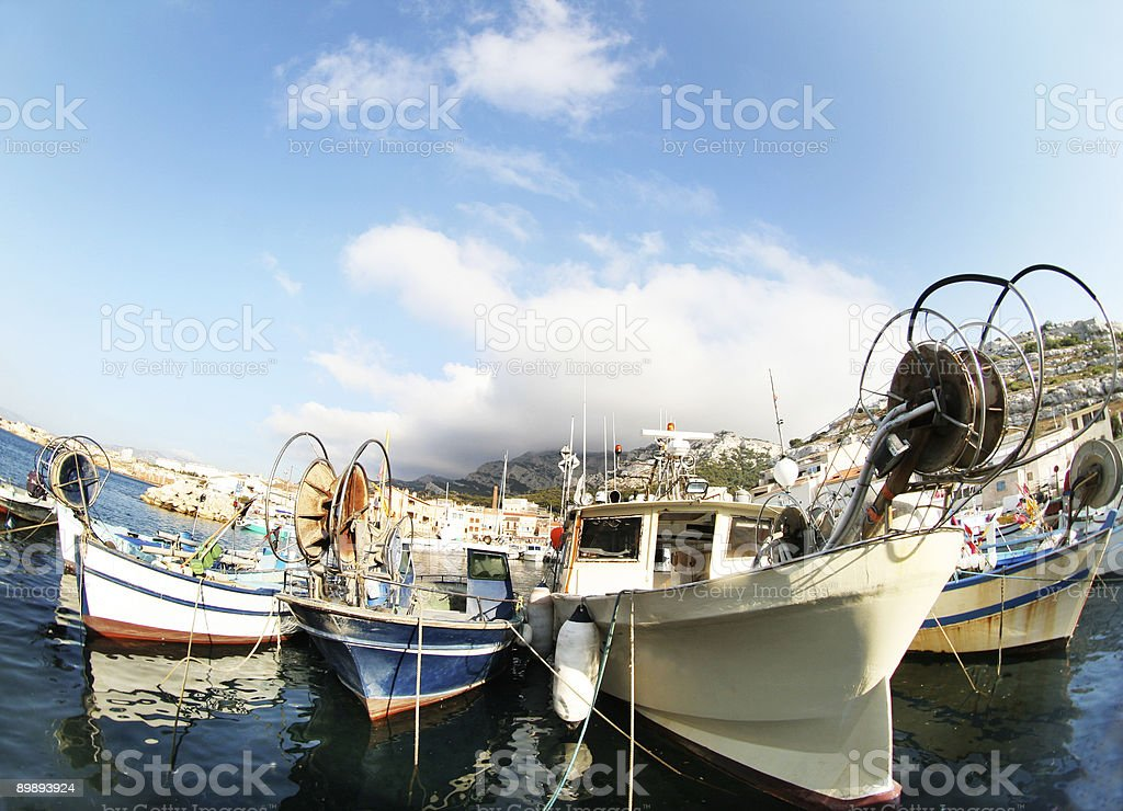 fisheye boats royalty-free stock photo