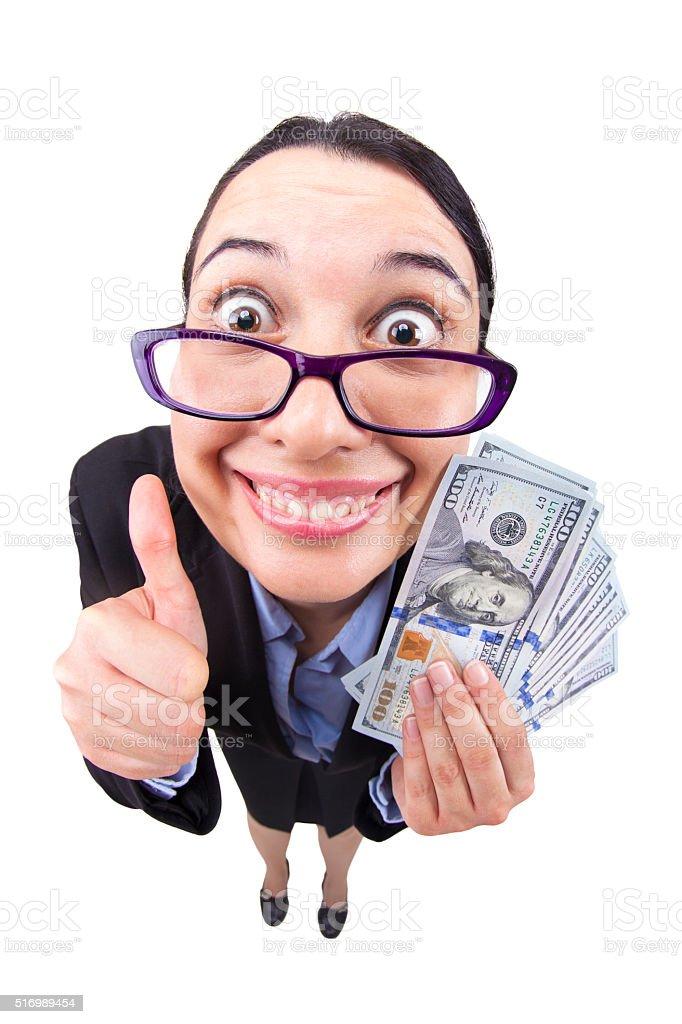 Fisheye business woman happy successful with wad of money stock photo