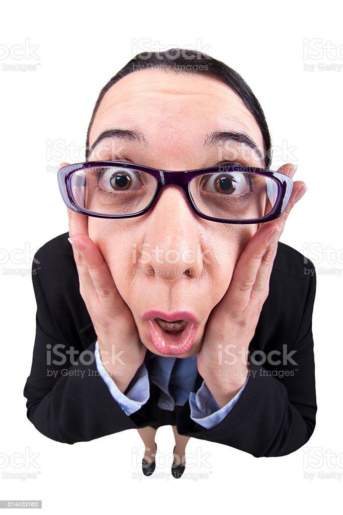 Fisheye Businesswoman Shocked stock photo